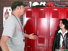 Coach with balls of fury finds Madison Ivy painting graffiti in his locker room. And the only way he wont get her expelled is if she gives him a deepthroat and he cums in her mouth.