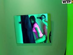 Two sex greedy folks get into a Photobooth where a steamy brunette chic gets anal fucked in doggy pose in perverse sex clip by WTF Pass.