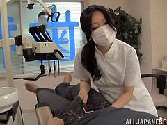 This slutty chick always fucks her clients. She gives a blowjob and a titjob to a guy and then he fucks her deep in her wet vagina.