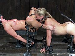 It's a BDSM lesbian porn video with a girl bounded and without being able to move and the other eating her cunt passionately... against her will.