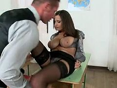Sensual Jane onto the classroom table got muff lick