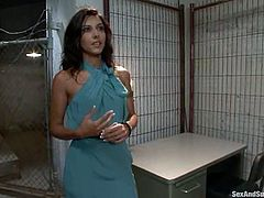 Amazing brunette chick is having fun with John Strong and Mark Davis in prison. The dudes tie the girl up and torment her before poking their cocks into her mouth, vag and butt.