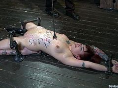 Slutty bitch gets her body covered with clothespins. After that she also gets her vagina toyed with a vibrator.