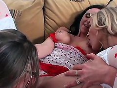 Three seductive and sexual hotties Brianna Ray, Kristen Cameron and Natalie are having threesome sex in this video clip. They expose delights before licking  fingering.