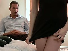 Sexy Bailey Blue takes her clothes off and crawls on all fours. After that she gets tied up and whipped. Then she gets her hot pussy fucked.