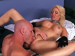 Wonderful pornstars Helly Hellfire and Johnny Sins play in this scene! Johnny uses his gigantic erected dick for deep vaginal penetrations. The petite nurse is ready to suck this instrument