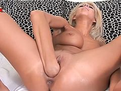 This divine and smoking hot porn star Clara-G is knows fer her flexible pussy. So here she shows how good she is at self fisting.