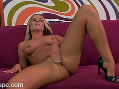 This blonde babe will leave you lost for words as you take a look at her gorgeous body. Watch her playing with her pink pussy as you jerk off.