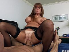 Horny milf with huge tits likes having huge cock pounding her tight ass hole