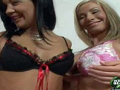 Young blonde and black haired sluts Helena Sweet and Regina Moon with firm asses and long whorish nails in short skirts get aroused and starts stripping and making out