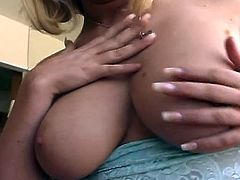 This hot amateur blondie got big naturals and nice round ass. She got her tight pussy licked and is ready to take his massive cock inside!