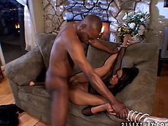 Juicy and naughty babe Kapri Styles is so damn hungry for a long lasting anal sex. She gets naked and sucks that black cock. Ebony babes are so wild.