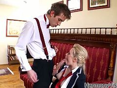 Naughty sex kitten Syren Sexton is looking at porn on her phone,When her teacher catches her.Soon enough Danny D is lifting her skirt to see her white panties, ripping her top open to reveal her lace white bra. This naughty school girl sure knows how to avoid detention by sucking his huge cock.