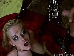 Sexy blondes Mandy Bright and Sylvie Taylor wearing black latex clothes are having some fun together. They use chains to tie each other up and enjoy toying their holes.
