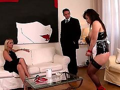 Arresting and super hot blonde business lady Kathia Nobili meets her lover and extremely hot Asian maid Tigerr Benson with giant round boobs! Enjoy wild threesome!