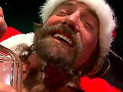 Very drunk Santa likes to be sucked, like anybody else. HE takes out of pants his erected dick and waits for a slut, who likes fairy-tales and blowjob. Sandra Romain is a good candidate