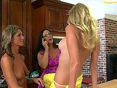 Three lesbians Brianna Ray, Kristen Cameron and Mandi Moretti have sex in the kitchen! They demonstrate their shaved or trimmed pussies and do the gentle cunnilinguses. Enjoy!