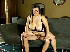 Smoking hot BBW Leny facesits and controls a wimpy guy. He fucks her fat cunt deep and jizzed her on her huge natural tits!