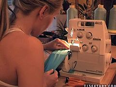 Pretty blonde Sophie Moone proves that she is not only a porn star, she has many other abilities. She makes a dress for herself and tries it on.