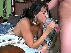 Amazing brunette milf with super hot fucking desire and sexy forms makes me crazy by sucking dick and smiles hot being fucked from behind. Enjoy really great mature woman.