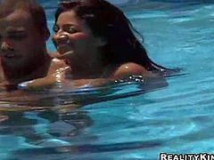 Brazilian girl Anni in white bikini has poolside fun