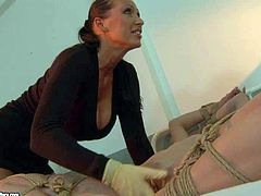 Attractive young blonde hottie Kathia Nobili with smoking hot ass and experienced brunette milf in identical short dresses compete which one of them is more cruel domina in awesome bondage action