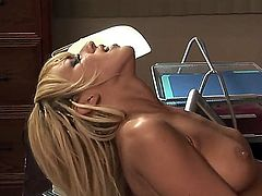 Gorgeous blonde cougar Breanne Benson fucking with her boss Dino Bravo in the office