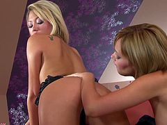 Have fun jerking off to this hot scene where two naughty blonde babe have an amazing time eating one another out in a lesbian scene.