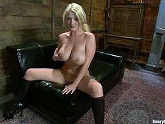 Stunning blondie in stockings toys her pussy and licks the dildo. After that she gives hot blowjob and gets pounded on a sofa.