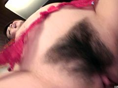 Voracious hoe Rinka is wearing sassy red stockings looking trashy. She stands on her all four getting pounded bad from behind.