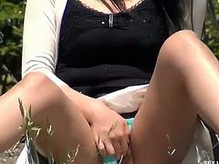 Keiko is a horny Japanese babe who rubs her pussy and plays with her tits in plain view, next to other people.