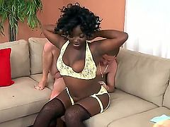 Busty ebony Reeka B likes feeling younger white hunk Tony Rubino in nasty hardcore