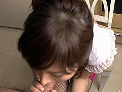 She is playful Japanese wench with sexy body and appetizing tits. She is getting her pussy fingered from behind. Later she gives an awesome blowjob working her mouth hard.