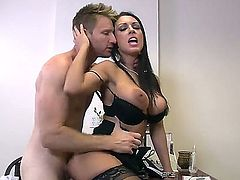 Mesmerizingly hot brunette with great big boobs dressed in super hot lingerie J Love seduces her sexy boss Levi Cash right in the office and gets fucked on the table.