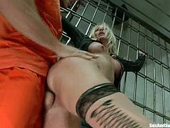 Horny Simone Sonay stands on her knees getting fucked in her mouth. After that she gets her pussy fucked and ass toyed.