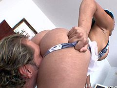 Bodylicious Colombian chick with hot ass and nice boobs gets her ass and pussy licked by horny Nacho Vidal before she takes his rod in her mouth and between her boobies. Watch nasty sexy go at it.