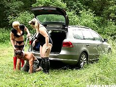 See the blonde and vicious BBWs Jitka and Dana taking their slave to the woods so they can use him to pleasure them by fucking their clams into ecstasy.
