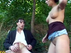 Two voracious fuckers pound ruined slit of Russian blond slut in turns. First she gets drilled in missionary style by the first dude and a moment later another fucker pounds her in doggy pose.