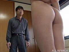 Sexy Kanon Narumi strips her clothes off in an apartment and kisses with the guy. After that she spreads her legs and gets fucked doggystyle.