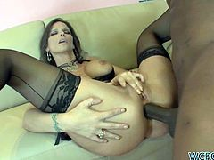 Smoking Hot Cougar Syren Awaits Her Black Buddy To Arrive And When He Does She's All Over Him Like A Rash!