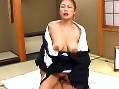 See this Asian babe being nailed by her husband in this hardcore scene where she closes her eyes and enjoys the pounding.