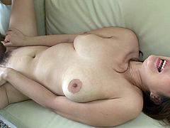 Palatable and pallid Japanese chick stretches legs wide. Her hairy wet pussy is opened and ready to be fingered. Two lucky dudes desire to get solid blowjobs provided by slim nympho as a repay for delight.
