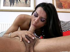 Brunette from France is hot like hell. This French nympho in stockings wanna demonstrate her dick sucking skills. Tall and slim girlie has a strong desire to be fucked from behind right on the floor and moans of delight like a mad one.