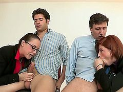 Sexy chicks Brooklyn Lee and Chanel Preston are sucking Giovanni and Steve Holmes's dicks and gets f