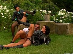 Just look at these seductive brunettes with flossy asses. Spoiled nymphos with sweet tits wear stockings and do their best while sucking and riding a strong cock on the green lawn. These filthy nymphos are surely worth checking out in Tainster sex clip for your viewing enjoyment.