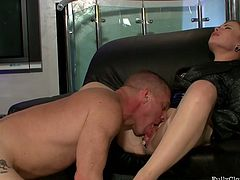 Flushing brunette gets her pussy licked and fucked mish on leather couch