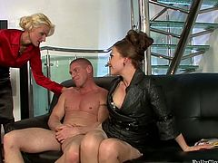 Brunette moans and spins madly while her wet cunt gets hammered missionary on the couch. Spoiled chick jams her tits. Then horny slim blondie with heavy makeup changes black haired filth to ride a dick. This a bit weird but surely hot threesome in Tainster sex clip can make any man jizz in a flash.