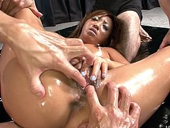 Thirsting for orgasm Japanese tanned and oil covered bitch gets rid of her bikini. Ardent nympho plays with boobs till the nipples get fist, stretches legs wide for getting her pussy tickled. Sucking dicks for cum is a true delight for spoiled Asian clown face.
