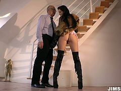 Appetizing and alluring nympho with sweet tits is tall and slim. Wondrous chick with sweet tits wears leather high boots. She comes to the steps and allures old man for getting her wet pussy polished tough.