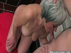 Have a look at this hot hardcore scene where a slutty mature is fucked silly by a horny guy in the bathroom.
